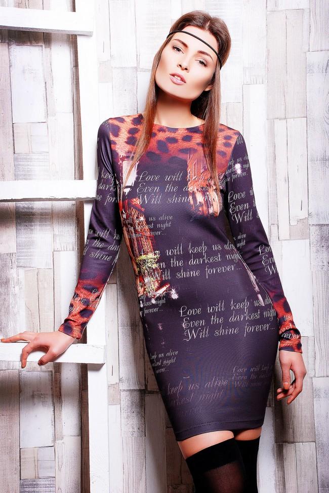 """Облегающее платье принт """"Леопард"""" - """"Night lyric"""" (PL-1045)"""