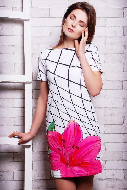 """Платье с прином черная клетка и цветок - """"Silk Web"""" (PL-1070D)"""