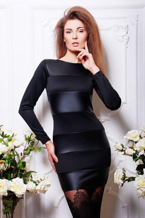 """Черное платье из полос экокожи и ткани - """"Stella"""" (PL-1042A)"""