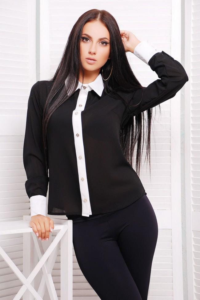 "Черная рубашка из шифона - ""Классика"" RB-1228B"