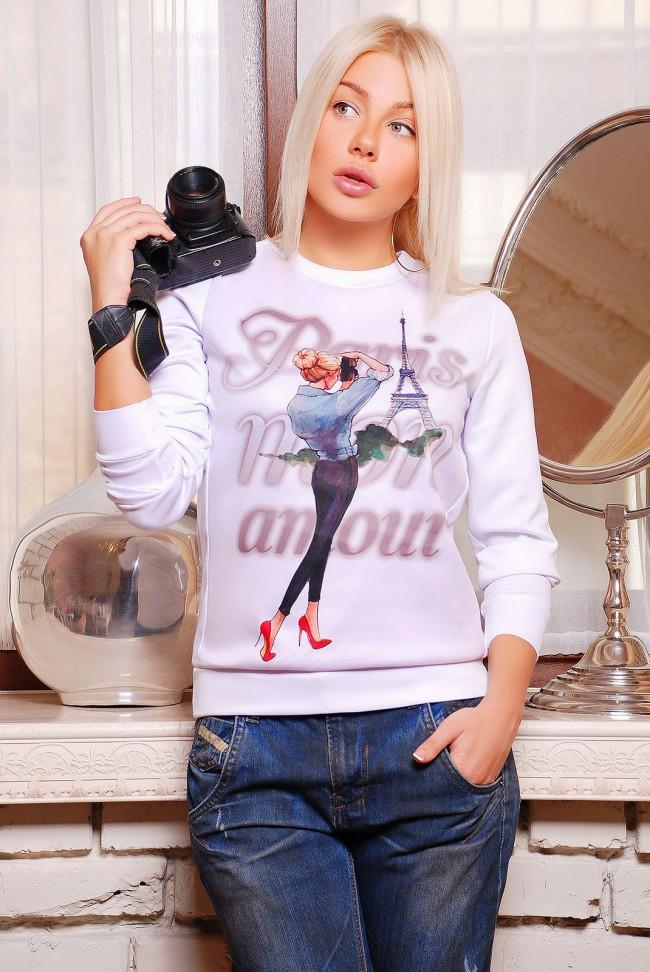 """Свитшот с надписью """"Paris mon amour"""" (KF-1266D)"""