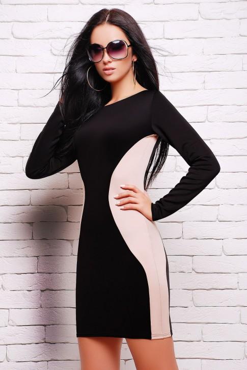 """Черное платье с бежевыми вставками - """"Силуэт"""" (PL-1277C)"""