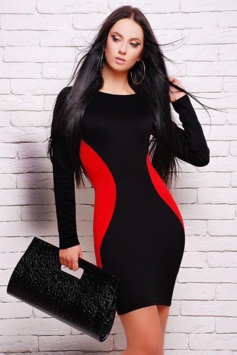 """Черное платье с красными вставками - """"Силуэт"""" (PL-1277A)"""