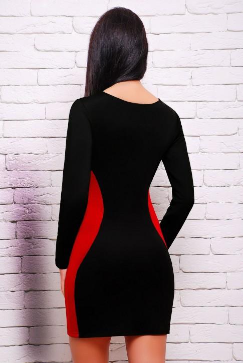 """Черное платье с красными вставками - """"Силуэт"""" (PL-1277A) (фото 2)"""