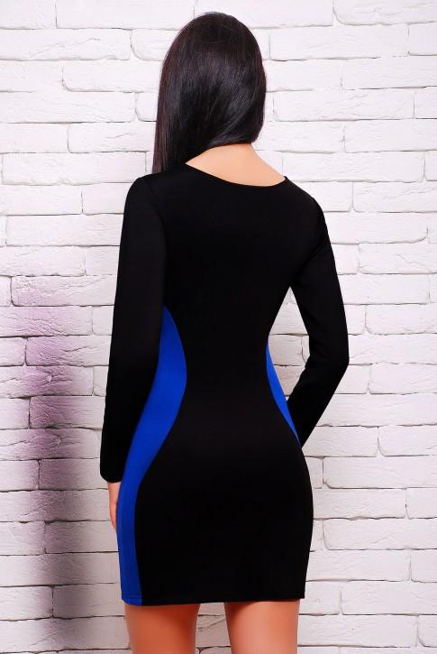 """Черное платье с синими вставками - """"Силуэт"""" PL-1277B (фото 2)"""