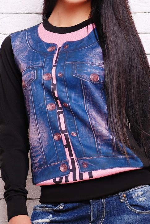Свитшот принт джинсовая жилетка (KF-1270FL) (фото 2)