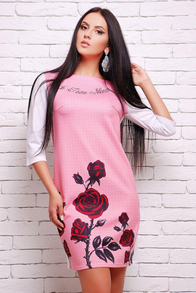 Платье с розами D&G на розовом фоне