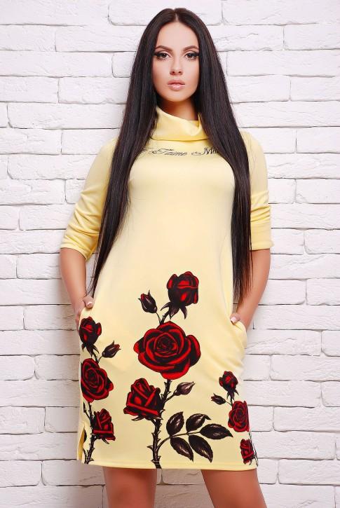 Желтое платье с длинным воротником