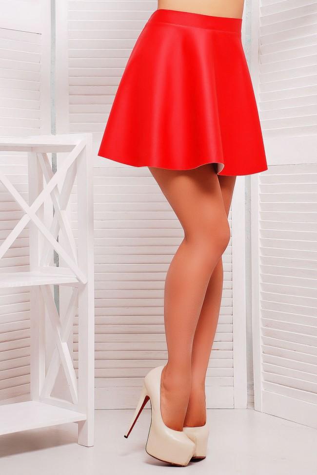 Красная юбка мини из кожзама