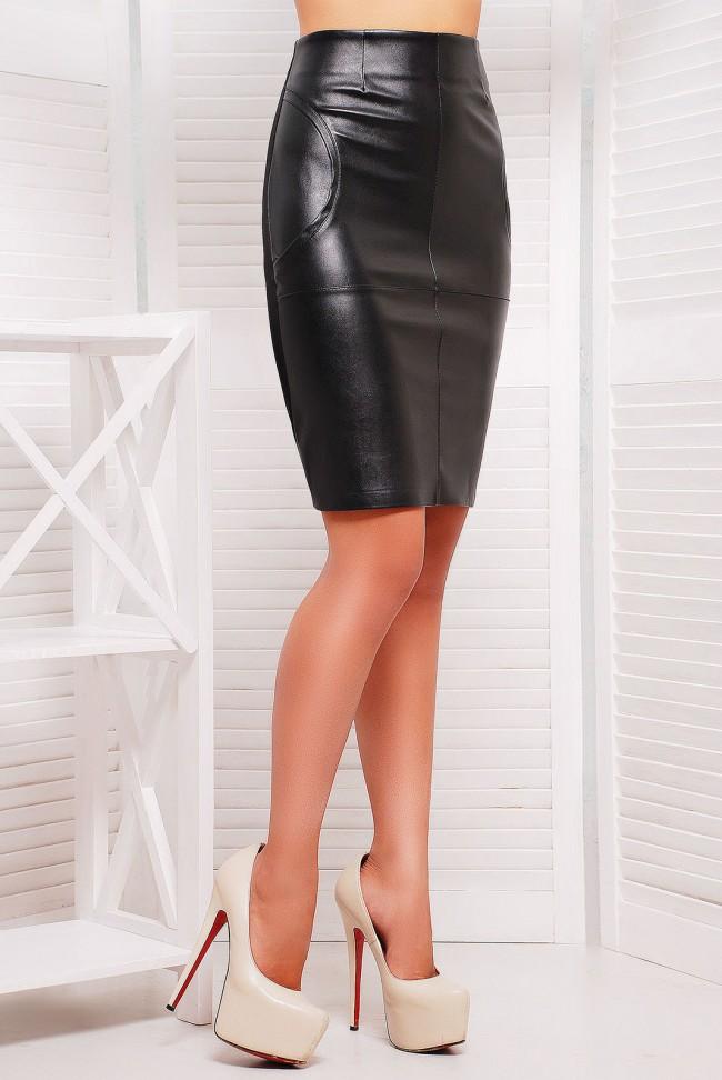Черная юбка карандаш из кожзама