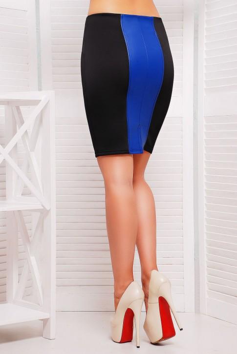 Синяя юбка карандаш со вставками (фото 2)