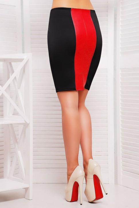 Красная юбка карандаш со вставками (фото 2)