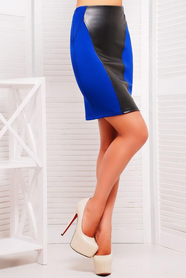 Синяя юбка карандаш со вставками