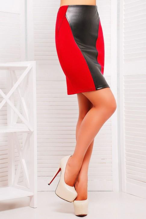 Красная юбка карандаш со вставками