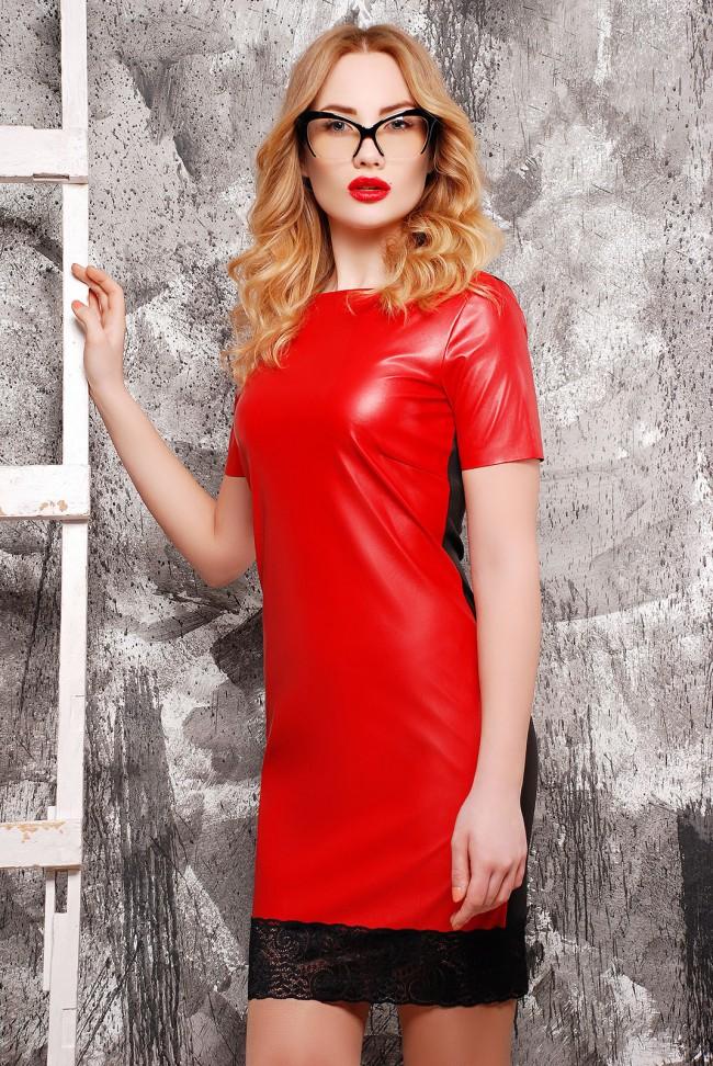 """Платье """"Шик"""", красная кожа и чёрный гипюр"""