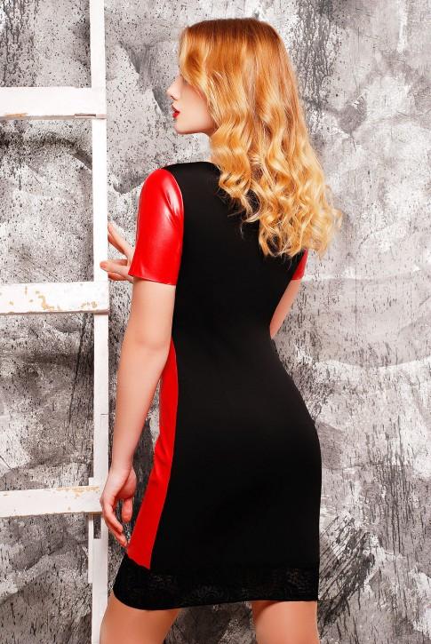 """Платье """"Шик"""", красная кожа и чёрный гипюр (фото 2)"""