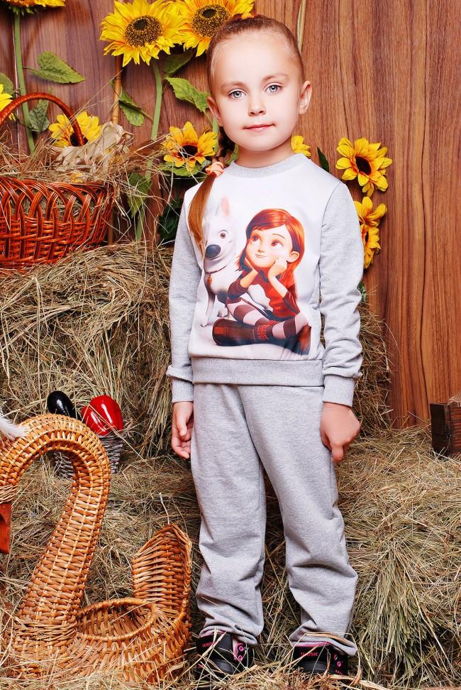 """Детский спортивный костюм, Вольт принт, светло-серый - """"Kids"""" KS-029"""