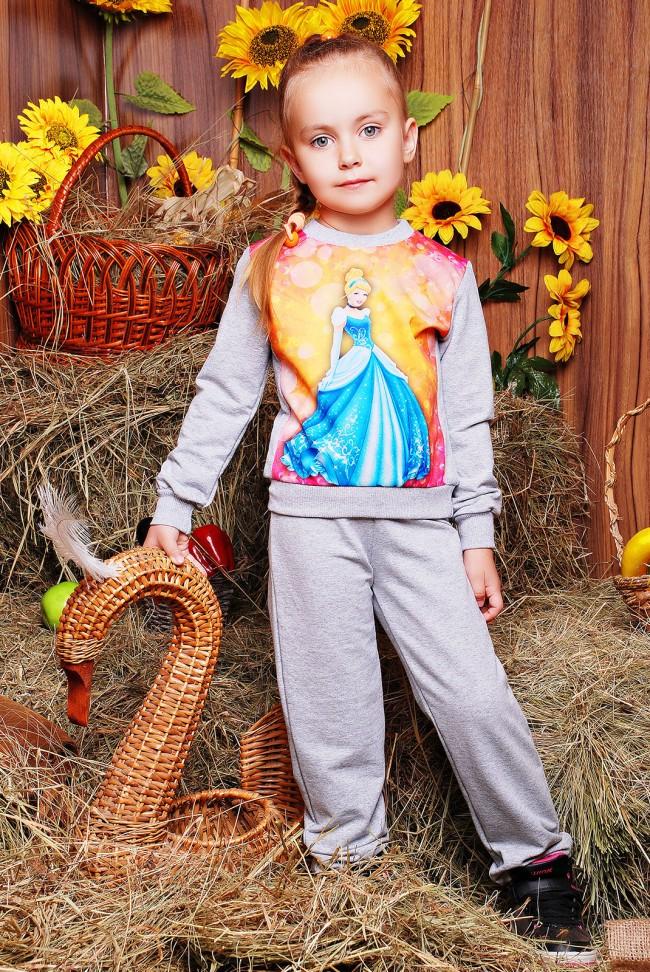 """Детский костюм, принт Золушка, светло-серый - """"Kids"""" KS-031"""