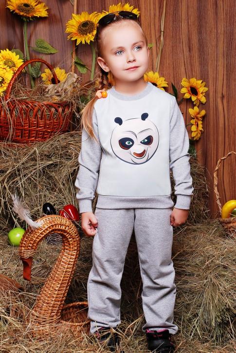 """Детский костюм """"Kids"""", Кунг-фу панда принт,светло-серый - KS-035"""