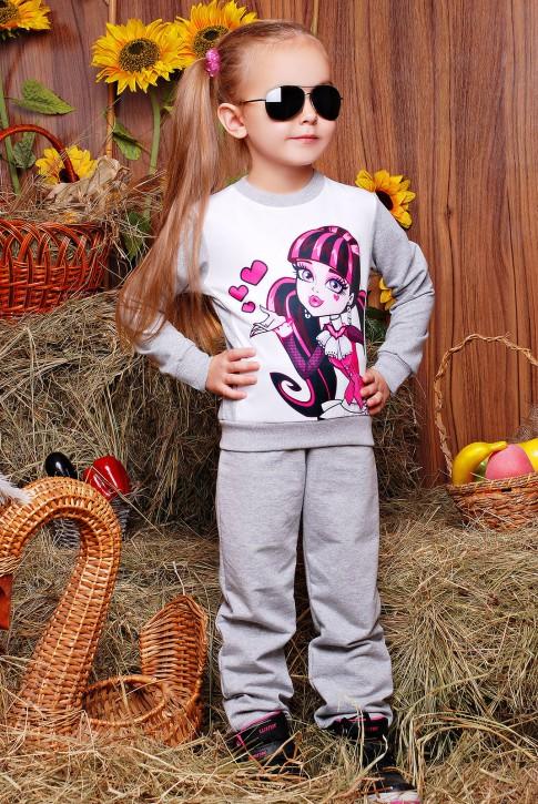 """Детский спортивный костюм оптом с принтом Monster High - """"Kids"""" KS-044"""