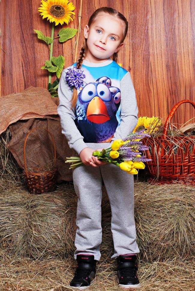 "Детский костюм комплект штаны и кофта - ""Kids"" KS-061, Рио птичка принт"