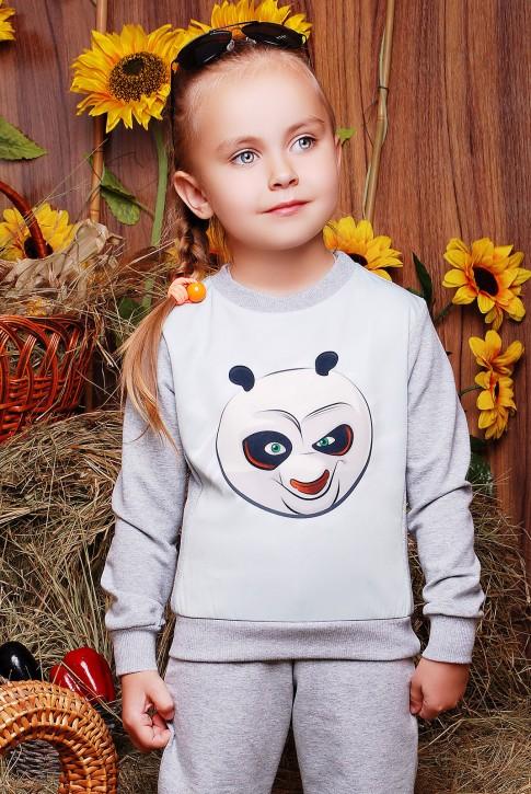 "Свитшот детский ""Kids"" KF-103, Кунг-фу панда принт,светло-серый"