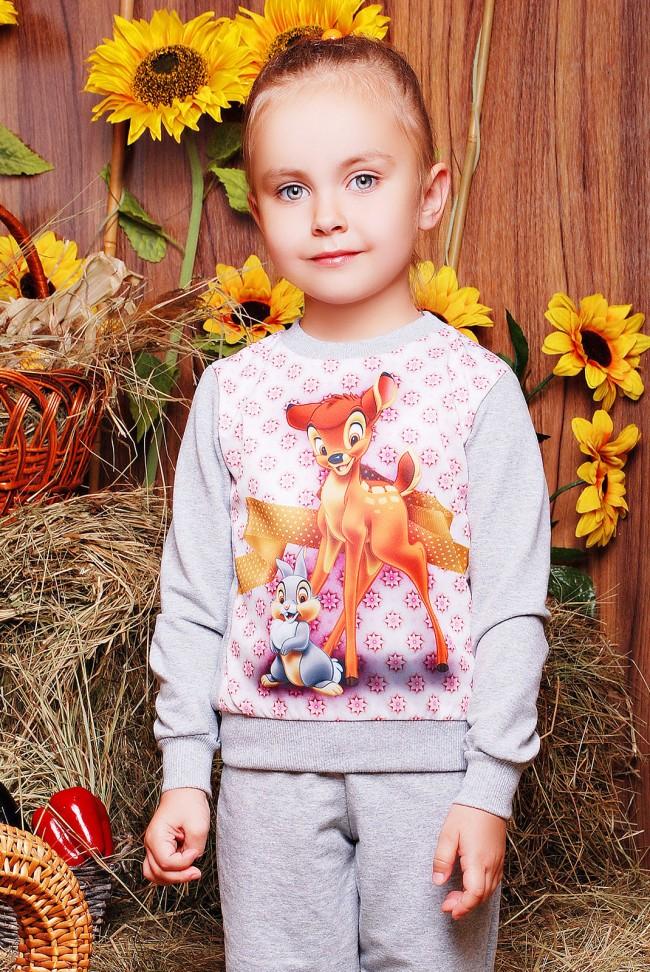 "Свитшот ""Kids"" KF-105, Bambi цветочки принт"