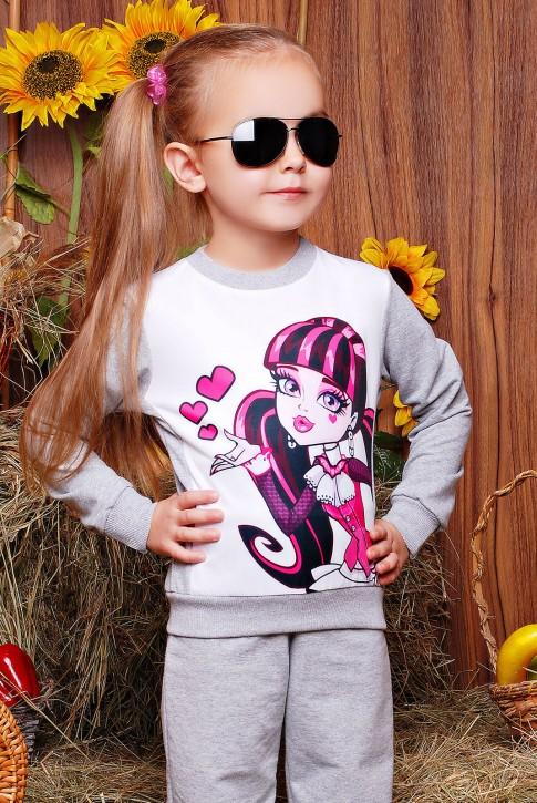 "Свитшот ""Kids"" KF-112, Monster High принт,светло-серый"