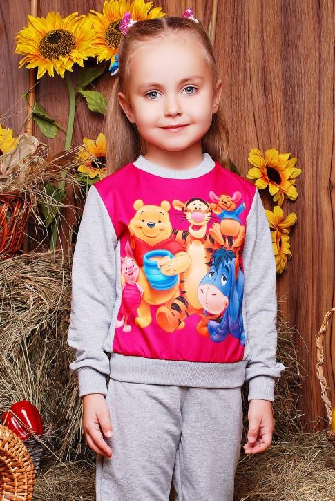 """Свитшот """"Kids"""" KF-113, Winnie the Pooh принт,светло-серый"""
