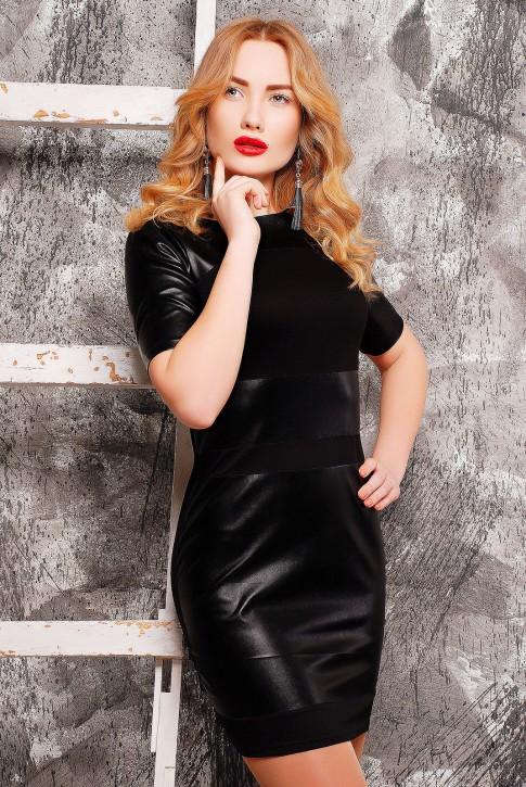 """Черное платье """"Kristina"""" из французского трикотажа и экокожи, PL-1304A"""