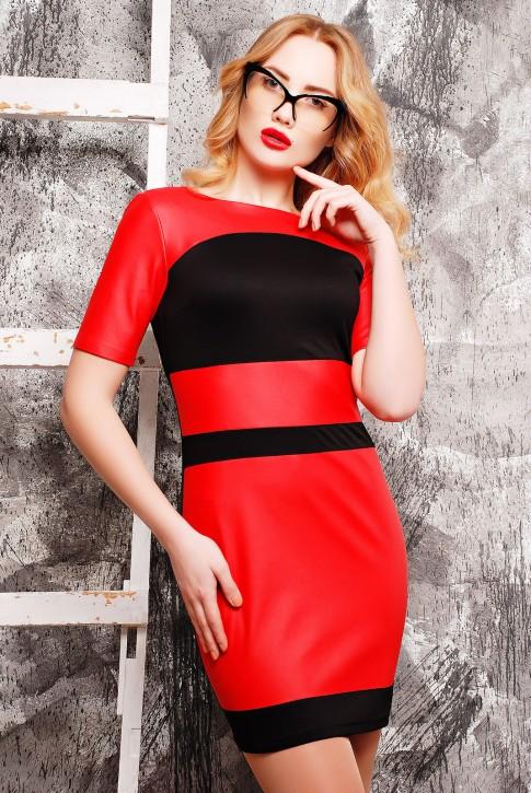 """Красное платье """"Kristina"""" из французского трикотажа и экокожи, PL-1304B"""