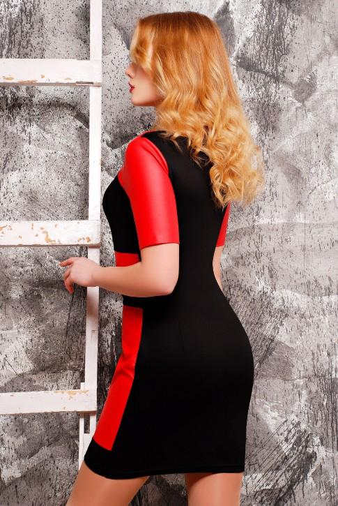 """Красное платье """"Kristina"""" из французского трикотажа и экокожи, PL-1304B (фото 2)"""