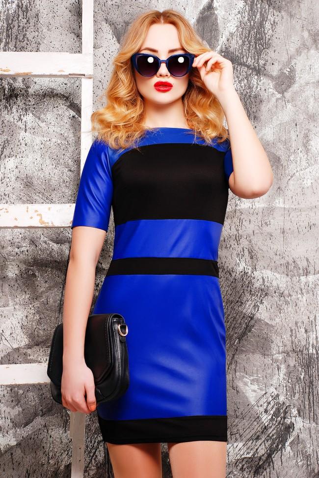 """Синее платье """"Kristina"""" из французского трикотажа и экокожи, PL-1304C"""