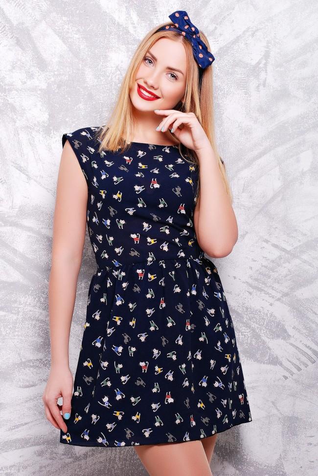 """Легкое летнее платье глубокого синего цвета - """"Kristy"""" PL-1307B"""
