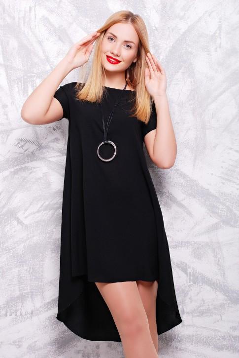 "Черное платье с коротким рукавом - ""Tail"" PL-1317C"