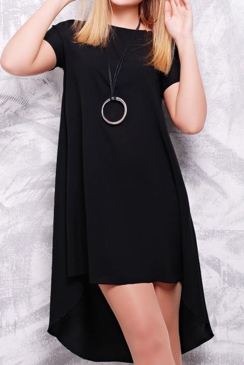 "Черное платье с коротким рукавом - ""Tail"" PL-1317C (фото 2)"