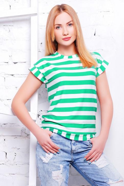 """Полосатая женская футболка зеленого цвета - """"Морячка"""" FB-1313C"""
