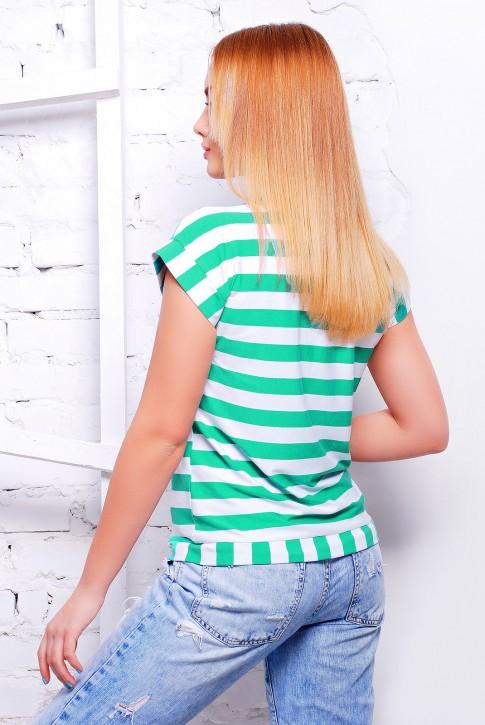"""Полосатая женская футболка зеленого цвета - """"Морячка"""" FB-1313C (фото 2)"""