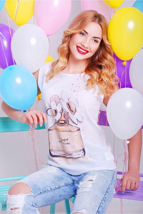 Летняя и нежная женская футболка, принт - флакон духов DAISY