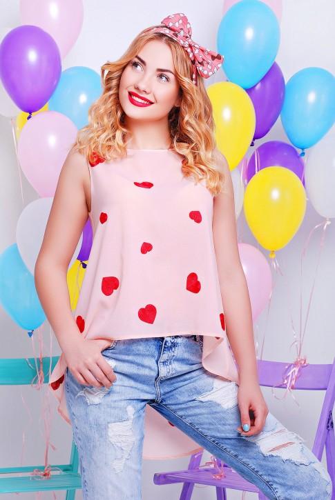 Шифоновая блузка, цвет персик
