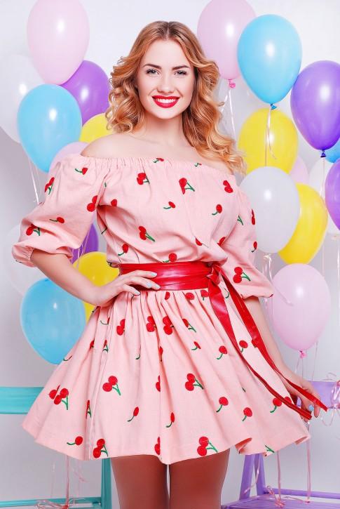 Платье мини цвет персика