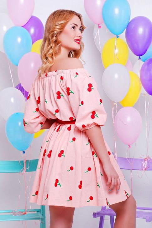 Платье мини цвет персика (фото 2)