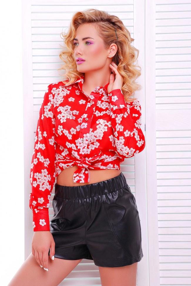 Ярко-красная женская рубашка RB-1228D