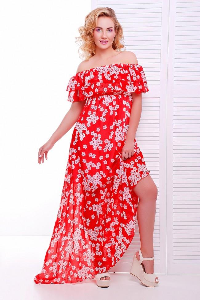 Модный сарафан из красного шифона