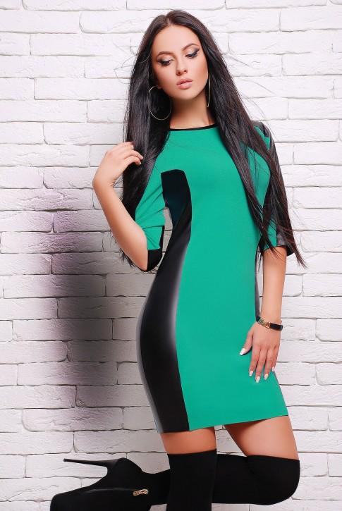 """Ментоловое платье """"Insert"""" с кожаными вставками (PL-1292D)"""