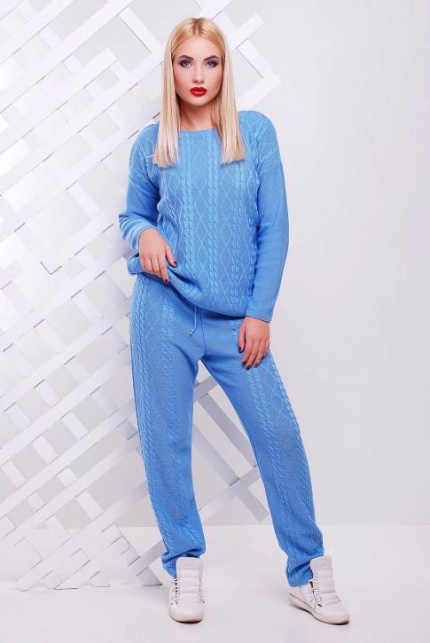 Голубой вязаный костюм - SKV-0001 (фото 2)