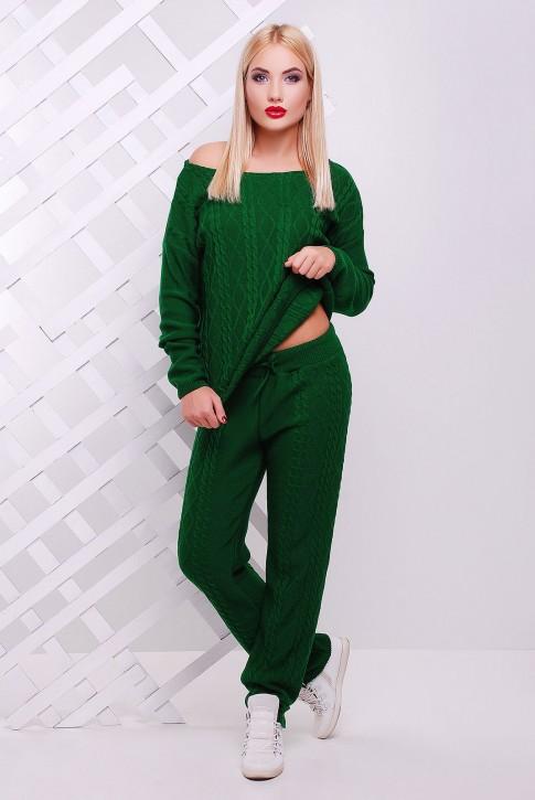 Зеленый женский костюм из вязаного трикотажа
