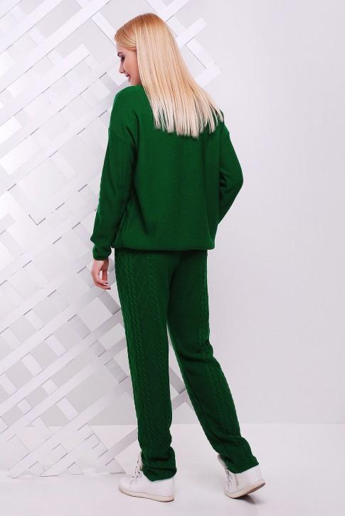 Зеленый женский костюм из вязаного трикотажа (фото 2)