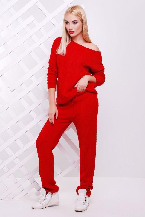 Теплый вязаный костюм красного цвета - SKV0005