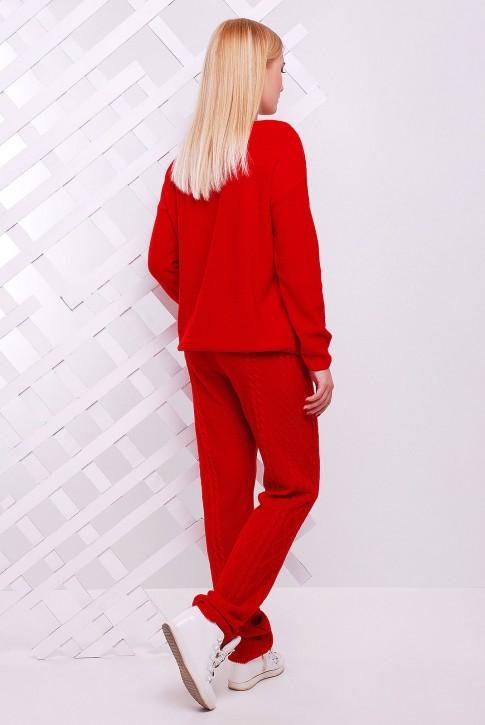 Теплый вязаный костюм красного цвета - SKV0005 (фото 2)